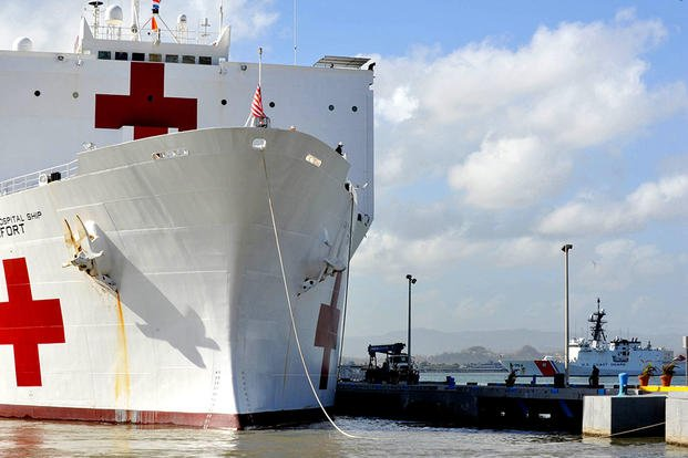 The Military Sealift Command hospital ship USNS Comfort arrives in San Juan, Puerto Rico last August. It has been providing medical assistance to several Latin American countries, including Peru, Colombia and Venezuela. (US Air Force photo/Christopher Meri)
