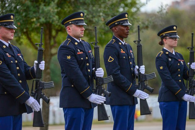 Fort Sam Houston Honor Guard executes the 21-gun salute followed by taps during an internment ceremony Nov. 14, 2017, at JBSA-Fort Sam Houston National Cemetery, San Antonio, Texas. (U.S. Air Force photo/Andrew C. Patterson)