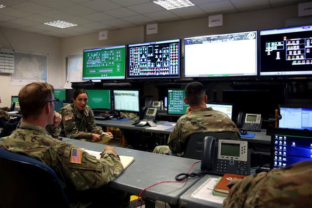 Cyber operators with 2nd Theater Signal Brigade conduct operations during Saber Guardian 17 at Mihail Kogalniceanu Air Base, Romania, in 2017. NATO is now conducting its largest cyber-warfare exercise, in response to cyber-assaults that are becoming more frequent, complex and destructive. (US Army photo/William King)