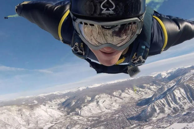 Navy SEAL Remington Peters freefalls in the skies above Aspen, Colorado. He was killed on May 28, 2017, after back-to-back parachute malfunctions. (US Navy photo)