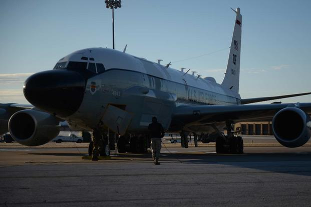 RC-135 Reconnaissance Aircraft Return to Offutt as Flood