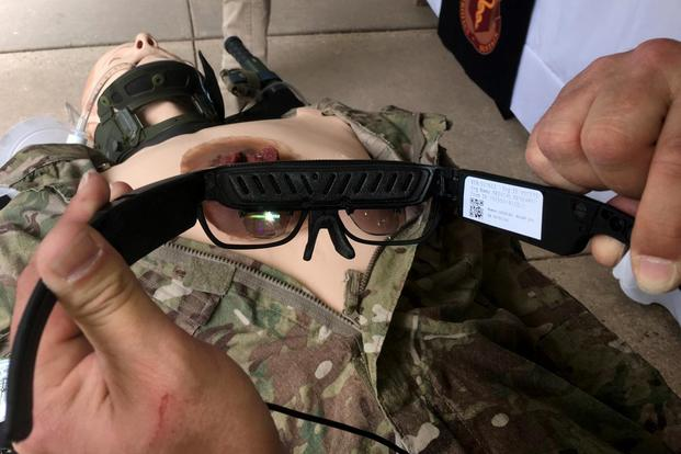 Army Medical Research and Materiel Command is testing commercially-available headsets like this one to connect a medic with a surgeon in the rear area. (Matthew Cox/Military.com)