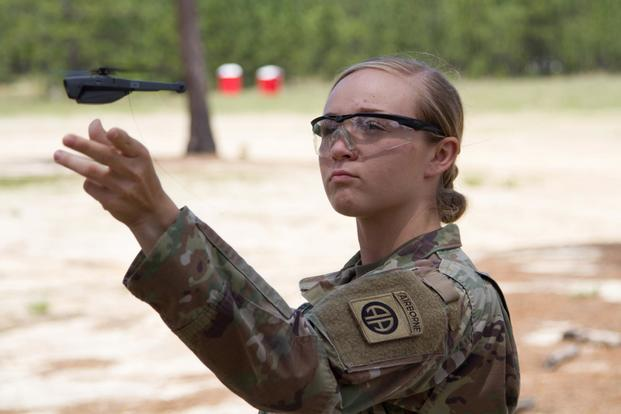 Pvt. Kesley Darnell, B. Co., 1st Battalion, 508th Parachute Infantry Regiment, 3rd Brigade Combat Team, 82nd Airborne Division, let's go of the air vehicle as it takes off during the systems fielding at Fort Bragg, NC, May 2nd, 2019 (US Army/Patrick Ferraris).