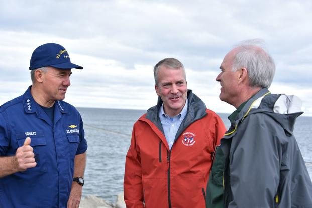 Coast Guard Commandant Adm. Karl Schultz meets with Secretary of the Navy Richard V. Spencer and Alaska Sen. Dan Sullivan in Nome and Port Clarence, Alaska, to discuss the construction of deep draft ports in western Alaska, Aug. 13, 2018. This would allow the Coast Guard and Navy to have a strong presence in the U.S. Arctic. (Jetta Disco/U.S. Coast Guard)