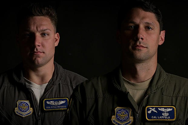 Senior Airman Kyle Bowers, left, a C-17 Globemaster III loadmaster, and Capt. Cal Lampela, a C-17 pilot, are instructors assigned to the 14th Airlift Squadron at Joint Base Charleston, S.C. (U.S. Air Force photo illustration/Joshua R. Maund)
