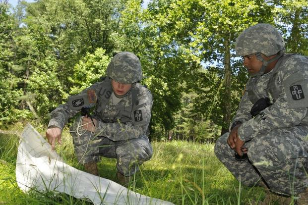 Army Reserve Spc. Susan Muir and Army Reserve Sgt. Sean Tynes, a preventive medicine specialist, trap and draw ticks for testing of Rocky Mountain spotted fever and Lyme disease at Lake Hurst at Joint Base McGuire-Dix-Lakehurst, June 11, 2015. (U.S. Army/Spc. Samuel Al-Nimri)