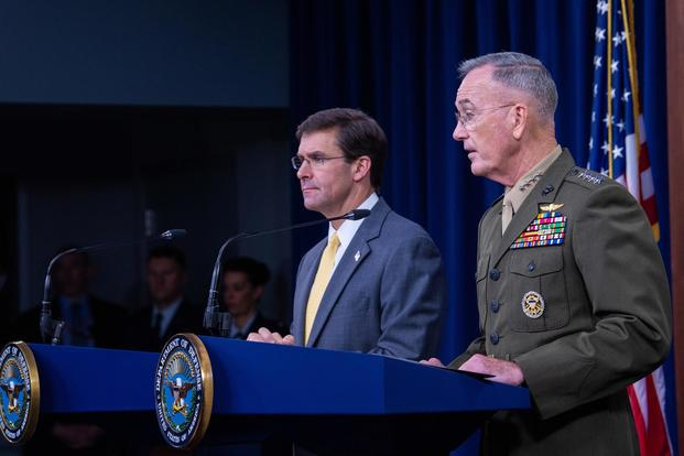 U.S. Secretary of Defense Dr. Mark T. Esper speaks to members of the press during his first joint press conference with Chairman of the Joint Chief of Staff Gen. Joseph F. Dunford at the Pentagon, Washington, D.C., Aug. 28, 2019. (DoD/Staff Sgt. Nicole Mejia)