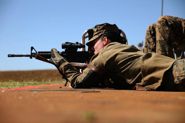 Cpl. Sabrena Norris, a Marine with U.S. Marine Corps Forces, Pacific, fires from the prone from the 500 yard line during the Pacific Division at Puuloa Range Training Facility Feb. 8, 2016. (U.S. Marine Corps photo/Sarah Anderson)
