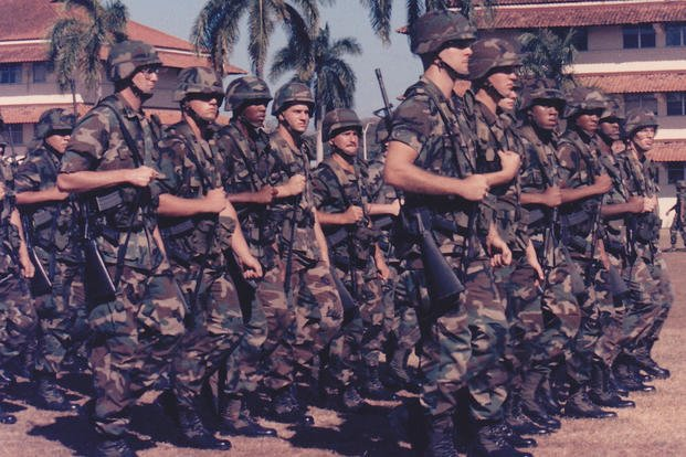 US Army soldiers marching in formation in Panama