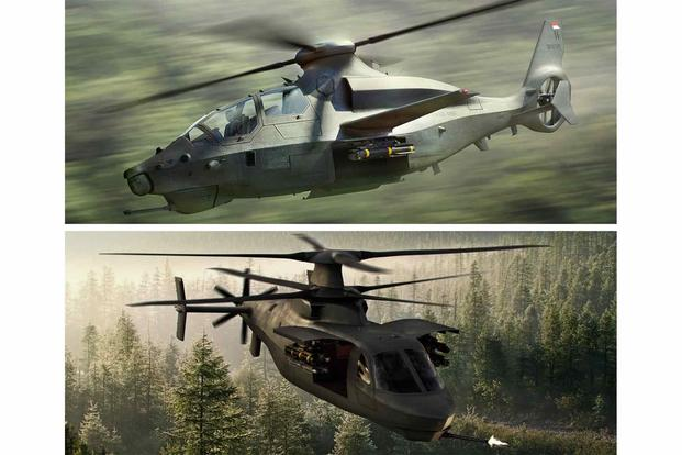 "Lockheed's RAIDER X coaxial helicopter  and Bell's ""360 Invictus"" single-rotor concept."
