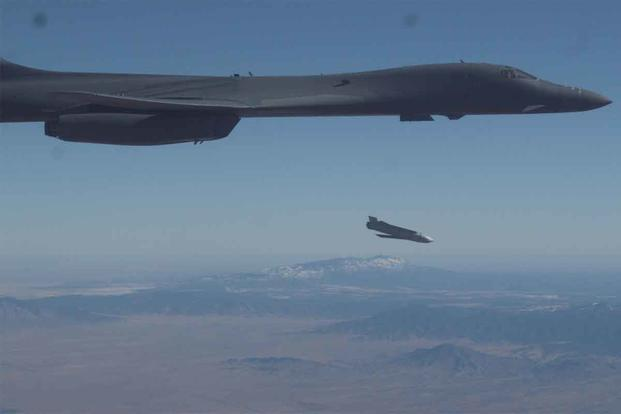 A B-1B Lancer releases a Joint Air-to-Surface Standoff Missile.