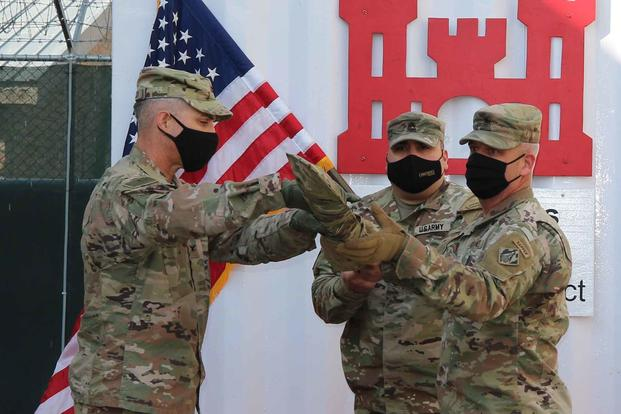 Ceremony to case the command colors at Bagram Airfield, Afghanistan.