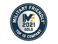 Military Friendly Gold 2021 Top 10 Company badge
