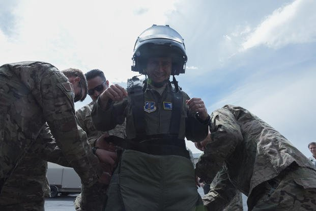 Air National Guard deputy director wears bomb suit