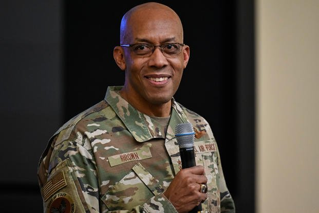 Air Force Chief of Staff Gen. Charles Q. Brown, Jr. addresses students