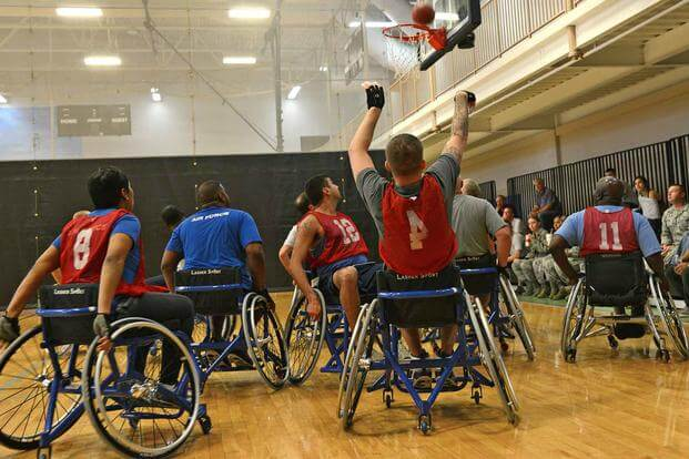 Air Force wheelchair basketball team.