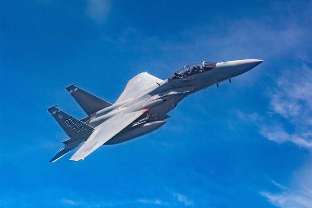 An F-15EX Eagle II  takes flight for the first time out of Eglin Air Force Base.