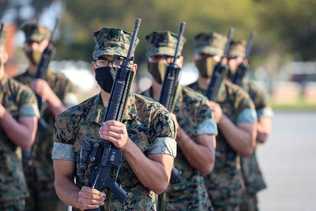 Recruits execute drill movements aboard Marine Corps Recruit Depot Parris Island