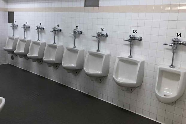 Urinals male squad bay for female recruits Marine Corps Recruit Depot San Diego.