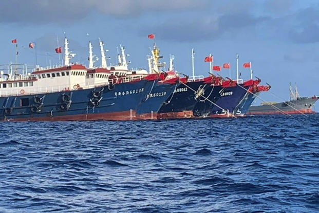 Chinese vessels are moored at Whitsun Reef, South China Sea