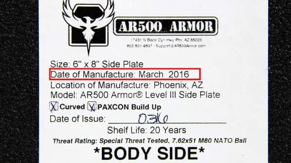AR500 Armor of is recalling Level III Body Armor plates shipped between Feb. 23 and March 23, 2016. The manufacturing date is to be found in the back of the body armor plate.