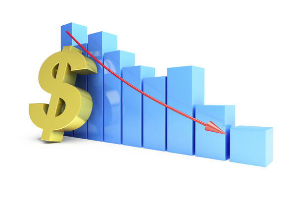 Downward Trending Bar Chart With Dollar Sign