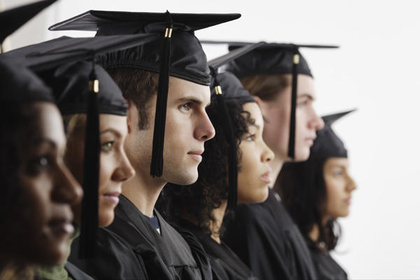 College graduates in profile.