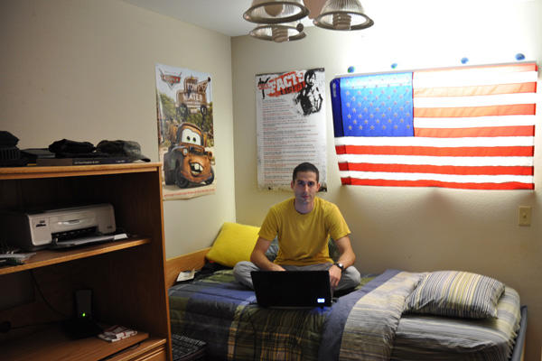 Soldier student in a dorm.