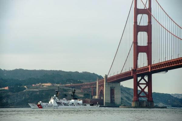 The high endurance cutter USCGC Boutwell (WHEC 719) transits the San Francisco Bay Oct. 7, 2015, as it arrives for San Francisco Fleet Week 2015. (U.S. Navy photo by Christopher Lindahl)
