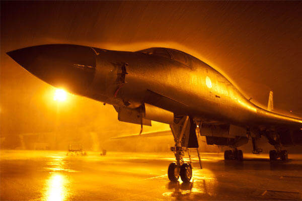 A B-1 Bomber sits on the flightline at Ellsworth Air Force Base, South Dakota. (US Air Force/Zachary Hada)