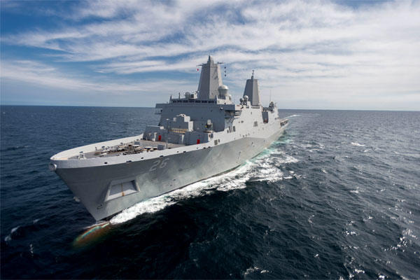 The John P. Murtha sails in the Gulf of Mexico before its commissioning as the U.S. Navy's newest San Antonio-class amphibious transport dock. (Huntington Ingalls Industries)