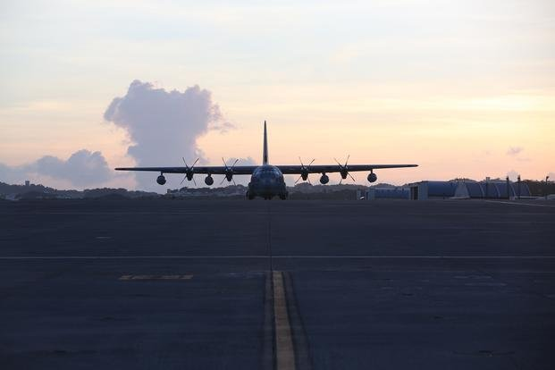 U.S. Marine Corps C-130 waits at Marine Corps Air Station Futenma, Aug. 1, 2016.(U.S. Marine Corps photo/Brooke Deiters)