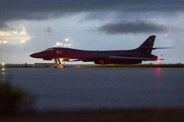 An Air Force B-1B Lancer bomber, assigned to the 37th Expeditionary Bomb Squadron, prepares to take off from Andersen Air Force Base, Guam, on Sept. 23. (US Air Fore photo/Joshua Smoot)