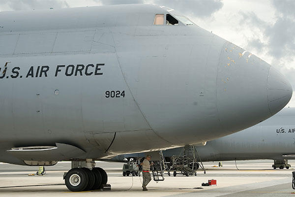 A C-5M Super Galaxy is parked on the flightline at Dover Air Force Base, Del. (U.S. Air Force photo/Adrian Rowan)