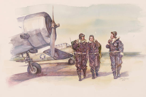 """Three Pretty Fly Girls,"" a watercolor painting by artist Lori Dawson. Part of the Air Force Art Program. (Image: U.S. Air Force)"