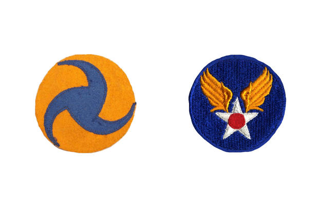 Left: U.S. Army Air Corps badge, 1937-1941. Right: U.S. Army Air Corps badge, 1941-1947.