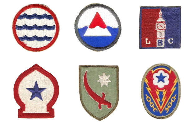 Top: Greenland Base Command, Iceland Base Command, and  London Base Command patches. Bottom: North African Theater, Persian Gulf Command, and ETO Advanced Base patches.