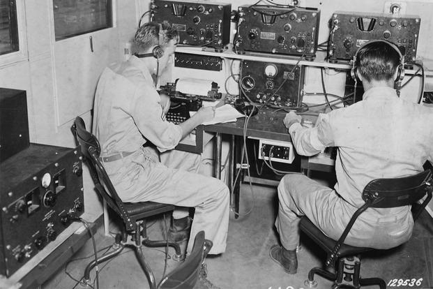 Two radio operators during the invasion of France. (Photo: National Archives)