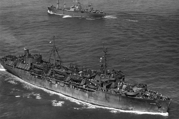 USS General G.O. Squier (AP-130) underway off the coast of California near San Francisco, date unknown. (Photo: U.S. Navy)