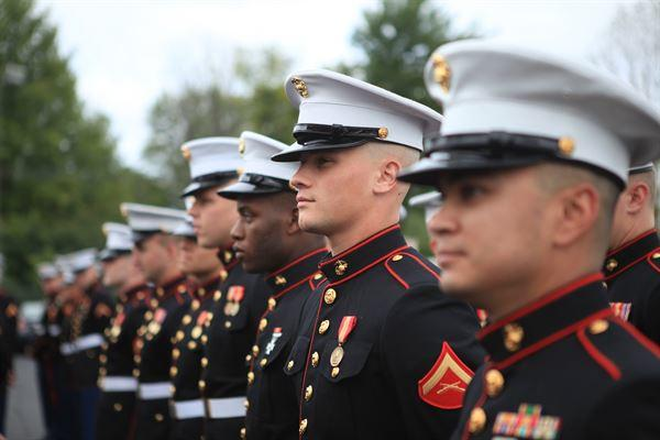 Marine dress blue lineup.