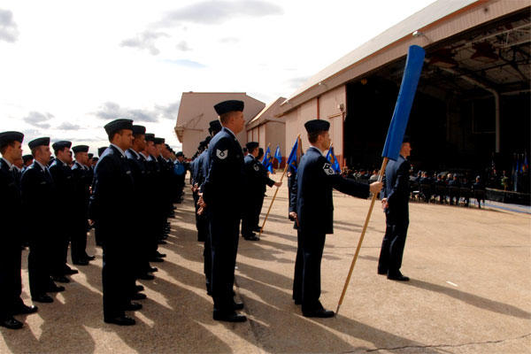 Members of the 157th Air Refueling Wing await activation in 2009 at the now closed Pease Air Base. (Air Force photo/Laura Suttles)