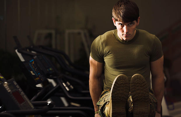military man working out