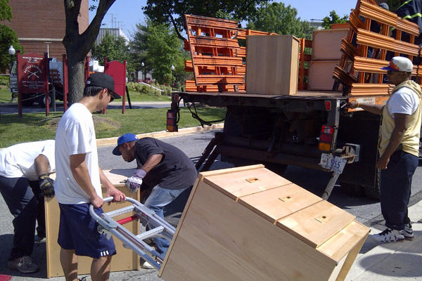 Unloading furniture off a truck