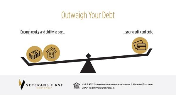 Outweigh your debt. Enough equity and ability to pay your credit card debt.