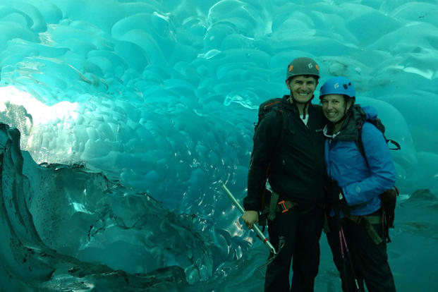 Kendall and John Gomber pose for a photo during a glacier traverse in Glacier Bay National Park, Alaska. (Photo:  Courtesy of John Gomber.)