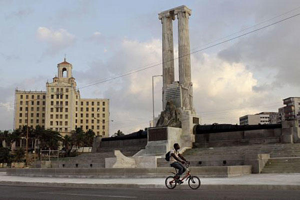 The restored USS Maine monument in Havana, Cuba. The monument was erected in 1925 in honor of U.S. sailors who died in 1898 when the USS Maine ship sank off the Havana Harbor.