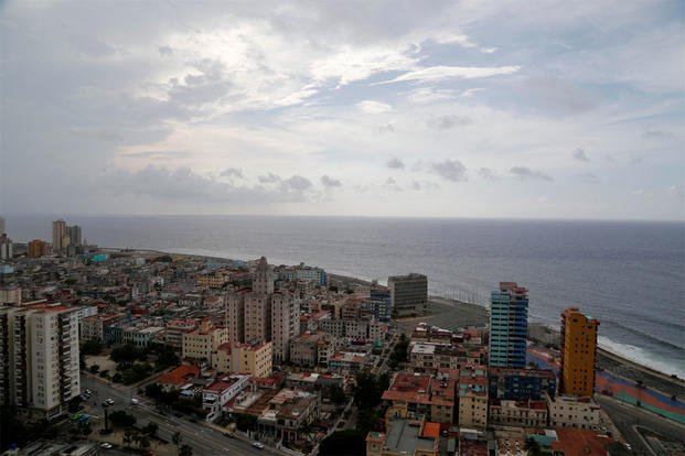 This coastal view of Havana, Cuba shows the United States Interests Section diplomatic mission, the third tall building from the right, on Sunday, May 24, 2015. (AP Photo/Desmond Boylan)