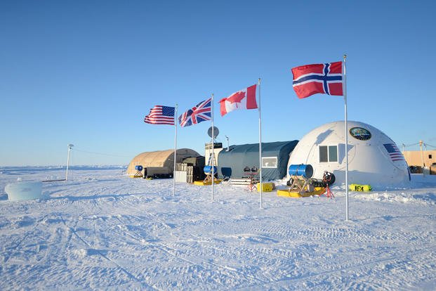 Ice Camp Sargo, located in the Arctic Circle, serves as the main stage for Ice Exercise (ICEX) 2016 and will house more than 200 participants from four nations. (Photo: Mass Communication Specialist 2nd Class Tyler Thompson)