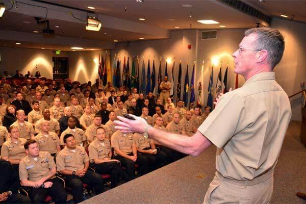 FILE PHOTO -- Navy Medicine Operational Training Center Commanding Officer Capt. James Norton addresses 100 Independent Duty Corpsmen students during an open forum discussion at the Surface Warfare Medical Institute. (Photo courtesy of NMOTC)