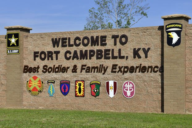 A photo of the entrance sign outside of Gate 3 at Fort Campbell, Ky., June 4, 2015. (U.S. Army Photo by Sam Shore)